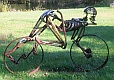 direct metal sculpture, bicycle, bicycle sculpture, found metal sculpture