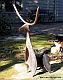 direct metal sculpture, long horn, found metal sculpture, yard art